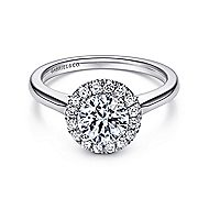 Stacy 14k White Gold Round Halo Engagement Ring angle 1