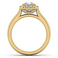 Stacy 14k Yellow Gold Princess Cut Halo Engagement Ring angle 2