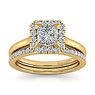 Stacy 14k Yellow Gold Princess Cut Halo Engagement Ring angle 4