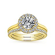 Stacy 14k Yellow Gold Round Halo Engagement Ring angle 4