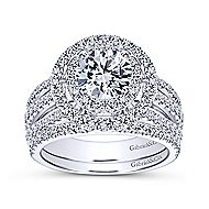 Starla 14k White Gold Round Double Halo Engagement Ring angle 4