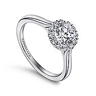 Stephanie 14k White Gold Round Halo Engagement Ring angle 3