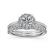 Stephanie 14k White Gold Round Halo Engagement Ring angle 4
