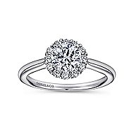 Stephanie 14k White Gold Round Halo Engagement Ring angle 5