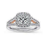 Susanna 18k White And Rose Gold Cushion Cut Halo Engagement Ring