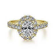 Sutton 14k Yellow Gold Oval Halo Engagement Ring angle 1