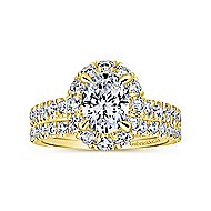 Sutton 14k Yellow Gold Oval Halo Engagement Ring angle 4