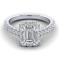 Sutton Platinum Emerald Cut Halo Engagement Ring angle 1