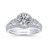 Suzanne 14k White Gold Round 3 Stones Halo Engagement Ring angle 4