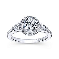 Suzanne 14k White Gold Round 3 Stones Halo Engagement Ring angle 5