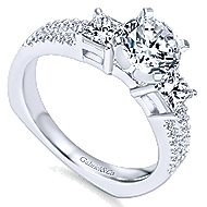 Svetlana 14k White Gold Round 3 Stones Engagement Ring angle 3