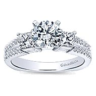 Svetlana 14k White Gold Round 3 Stones Engagement Ring angle 5
