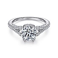 Sweet Pea 18k White Gold Round Split Shank Engagement Ring angle 1
