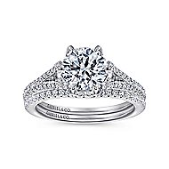 Sweet Pea 18k White Gold Round Split Shank Engagement Ring angle 4