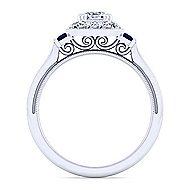 Sylvia 14k White Gold Cushion Cut Halo Engagement Ring angle 2