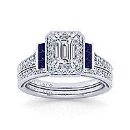 Sylvia 14k White Gold Emerald Cut Halo Engagement Ring angle 4