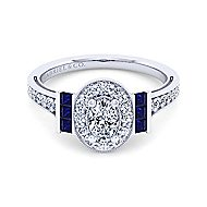 Sylvia 14k White Gold Oval Halo Engagement Ring angle 1