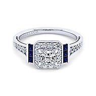 Sylvia 14k White Gold Princess Cut Halo Engagement Ring angle 1