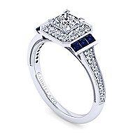 Sylvia 14k White Gold Princess Cut Halo Engagement Ring angle 3