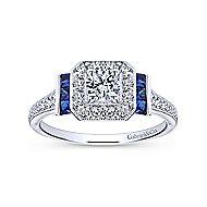 Sylvia 14k White Gold Round Halo Engagement Ring angle 5
