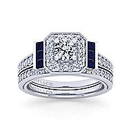 Sylvia 14k White Gold Round Halo Engagement Ring angle 4