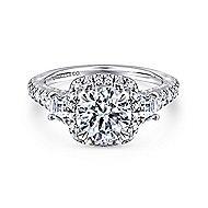 Tabassum 18k White Gold Round Halo Engagement Ring angle 1