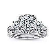 Tabassum 18k White Gold Round Halo Engagement Ring angle 4
