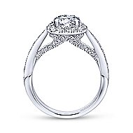 Tansy 14k White Gold Round Halo Engagement Ring angle 2
