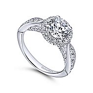 Tansy 14k White Gold Round Halo Engagement Ring