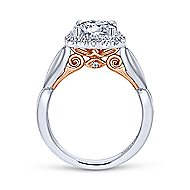 Thailand 18k White And Rose Gold Round Halo Engagement Ring angle 2