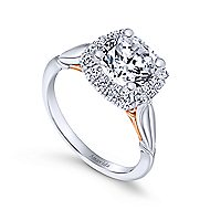 Thailand 18k White And Rose Gold Round Halo Engagement Ring