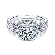 Thelma 18k White Gold Round Halo Engagement Ring angle 1