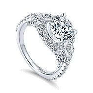 Thelma 18k White Gold Round Halo Engagement Ring angle 3