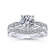 Thistle 14k White Gold Round Straight Engagement Ring angle 4