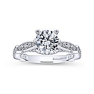 Thistle 14k White Gold Round Straight Engagement Ring angle 5