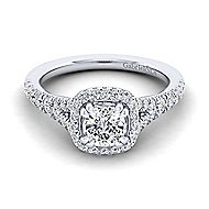 Thyme 14k White Gold Cushion Cut Double Halo Engagement Ring
