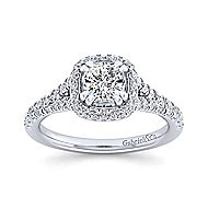 Thyme 14k White Gold Cushion Cut Double Halo Engagement Ring angle 5