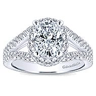 Tiger Lily 14k White Gold Oval Halo Engagement Ring angle 5