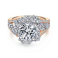 Tinsley 18k White And Rose Gold Round Halo Engagement Ring angle 1