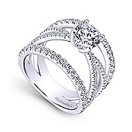 Titania 14k White Gold Round Split Shank Engagement Ring angle 3