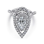 Trinitaria 18k White Gold Pear Shape Double Halo Engagement Ring angle 1