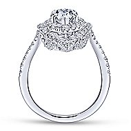 Trinitaria 18k White Gold Pear Shape Double Halo Engagement Ring angle 2