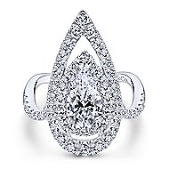 Trinitaria 18k White Gold Pear Shape Double Halo Engagement Ring angle 5