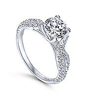 Tristan 14k White Gold Round Twisted Engagement Ring angle 3