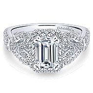 Tulip 14k White Gold Emerald Cut Halo Engagement Ring