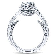 Valencia 14k White Gold Round Halo Engagement Ring angle 2