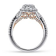 Vanessa 14k White And Rose Gold Cushion Cut Halo Engagement Ring
