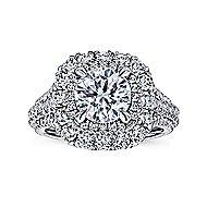 Vanora 18k White Gold Round Halo Engagement Ring
