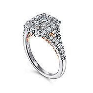 Venetia 14k White And Rose Gold Emerald Cut Double Halo Engagement Ring
