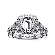 Venetia 14k White And Rose Gold Emerald Cut Double Halo Engagement Ring angle 4